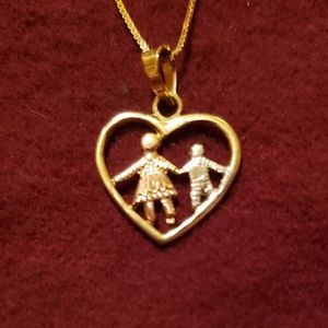 Jewelry - 14k Gold Children Within a Heart Necklace